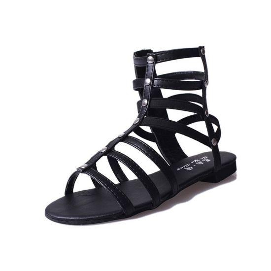 Mori Girl Hollow Pu Open Toe Low Heel Casual Summer Simplistic Flat Sandals