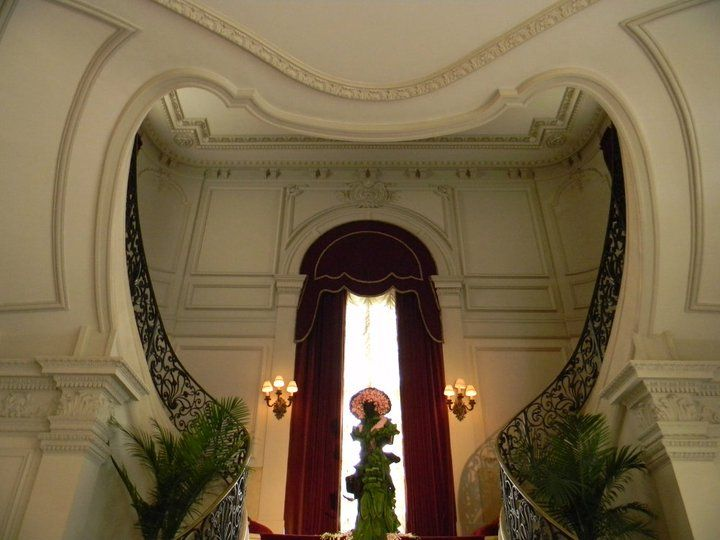 The magnificent stair case at the Rosecliff Mansion in Newport, Rhode Island.