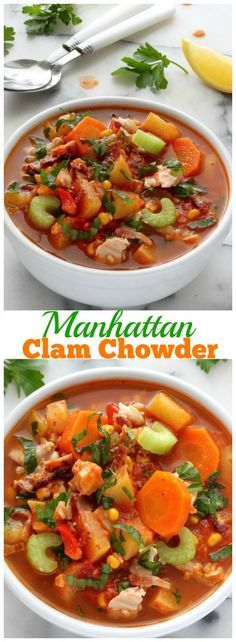 Chunky Manhattan Clam Chowder - So much flavor in this hearty, healthy soup!