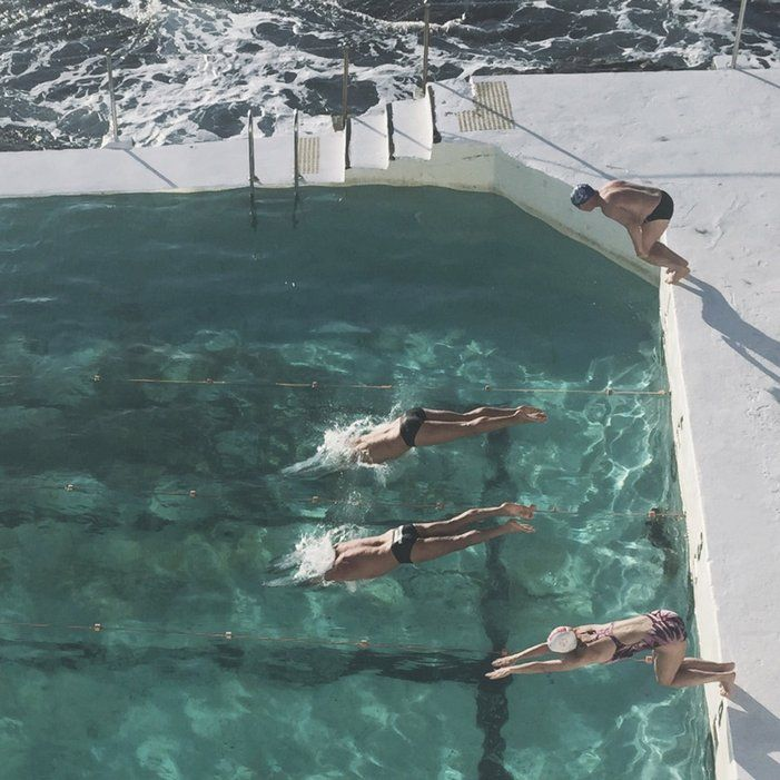"""Friendly swimming races are held every Sunday at Bondi Icebergs followed by snags on the barbie. The best way to work up an appetite."""