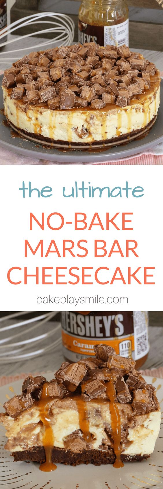 The ULTIMATE NO-BAKE MARS BAR CHEESECAKE... packed full of Mars Bars, chocolate sauce and caramel sauce! Talk about delicious!  #mars #bar #nobake #cheesecake #best #caramel #chocolate #dessert #thermomix #conventional #easy #christmas #celebration #cheesecake