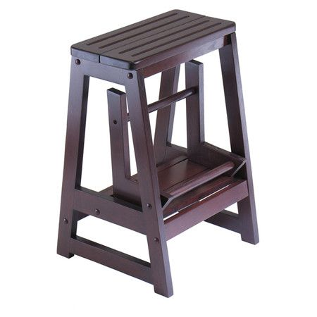 Featuring An Antique Walnut Finish And Lower Folding Step