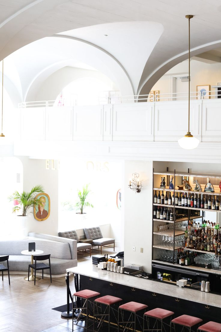vaulted arch ceilings bring drama to the lobby bar at The Quirk Hotel | wanderlust design on coco kelley