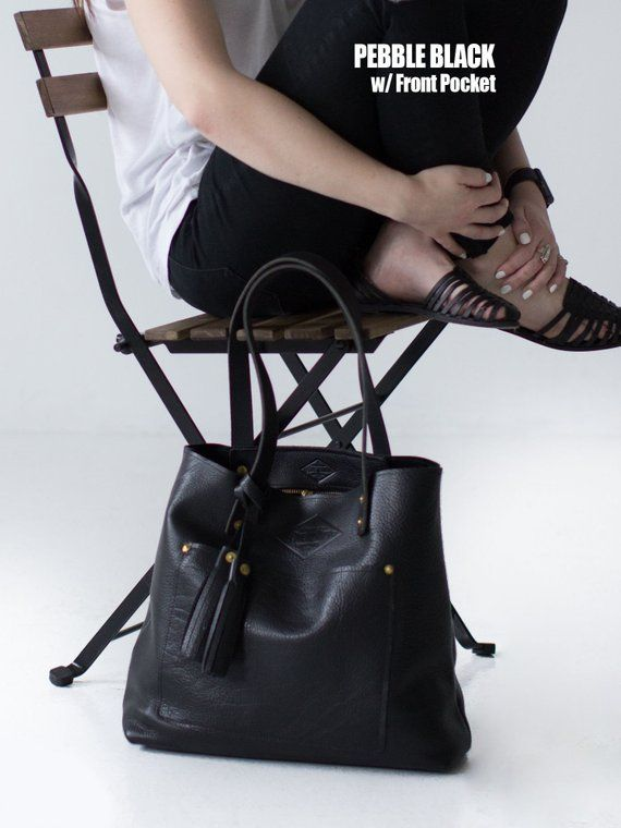 e93cdc7e0e25 Black Leather Tote Bag for Women, Large Black Leather Bag, Pebble Black,  Diaper Bag, Laptop Bag, Handmade in Arizona - Lifetime Leather