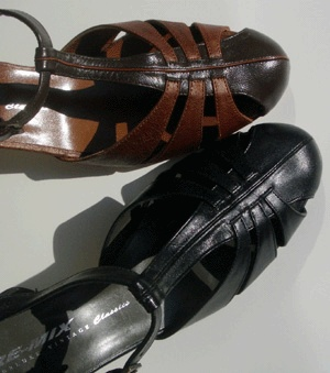 Remix Vintage Shoes, Balboa T-Strap Heel in Dark & Luggage Brown Leather Combo, All Black Leather