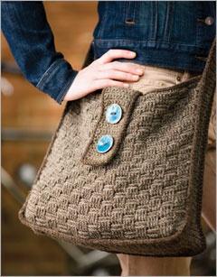 basket weave crochet messenger bag - I think I could knit a similar pattern.