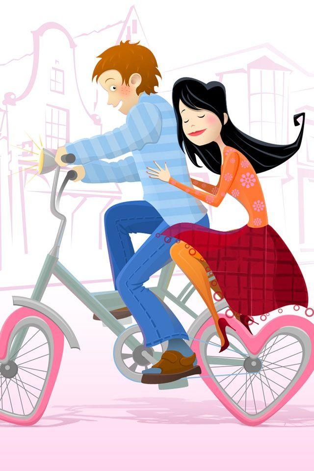 Cute Love Cartoon Couples Wallpapers Cycling Couple Bicyclepaintings Bicycle Painting