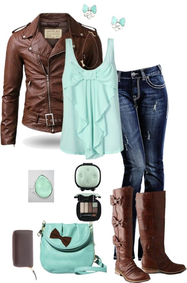 """Mint and Brown Bows"" Love this color combo. I would do without that purse though. Fashion, fall, outfit, leather jacket, boots."