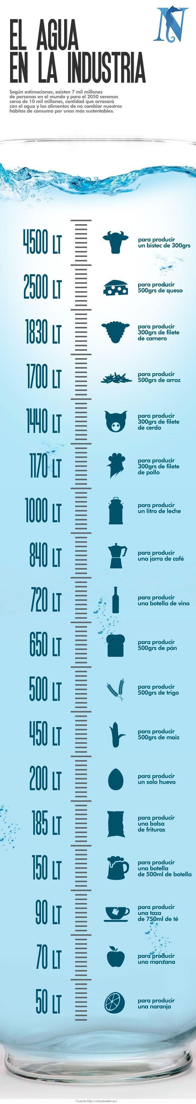 ¿Cuánta #agua se necesita para producir los artículos que consumimos diariamente?.   Según estimaciones, existen 7 mil millones de personas en el mundo y para el 2050 seremos cerca de 10 mil millones, cantidad que arrasará con el agua y los alimentos de no cambiar nuestros hábitos por unos más sustentables.