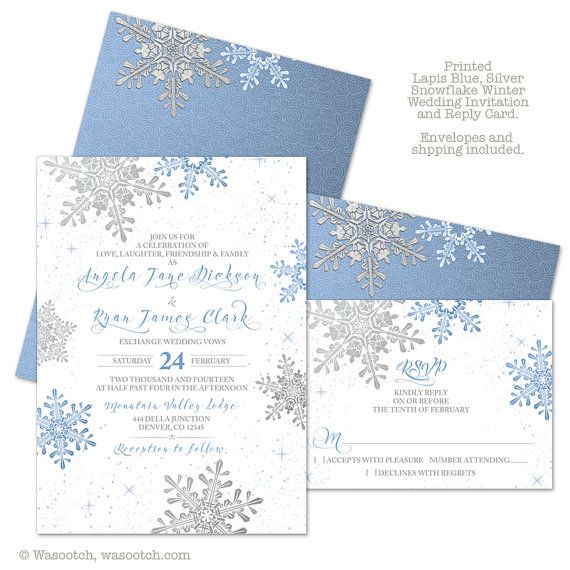 Lapis Blue Silver White Snowflake Winter Wedding Invitation and RSVP reply card.... printed invitations on ice pearl paper. Comes with ice pearl envelopes. Prices include shipping.   Perfect for a winter wedding.
