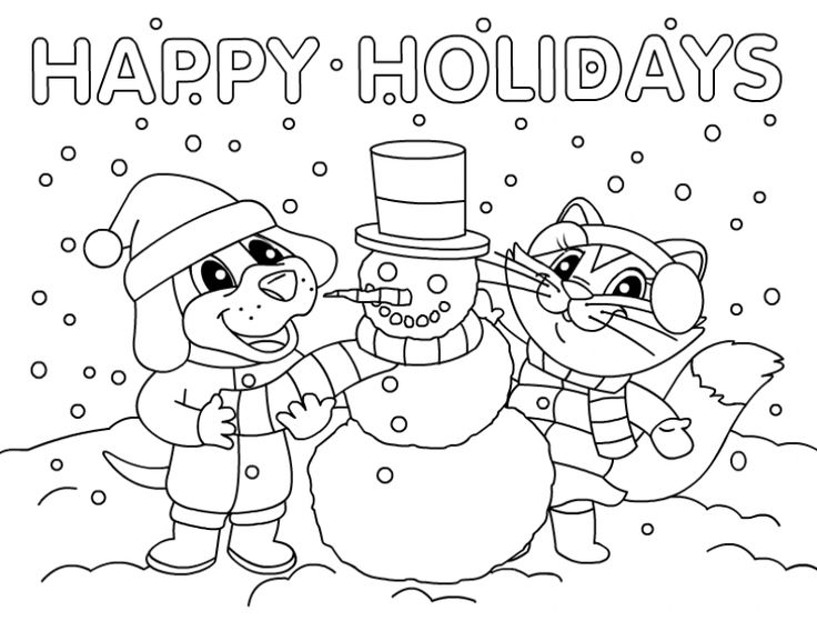 Snowman Happy Holidays Coloring PagesHappyPrintable Coloring