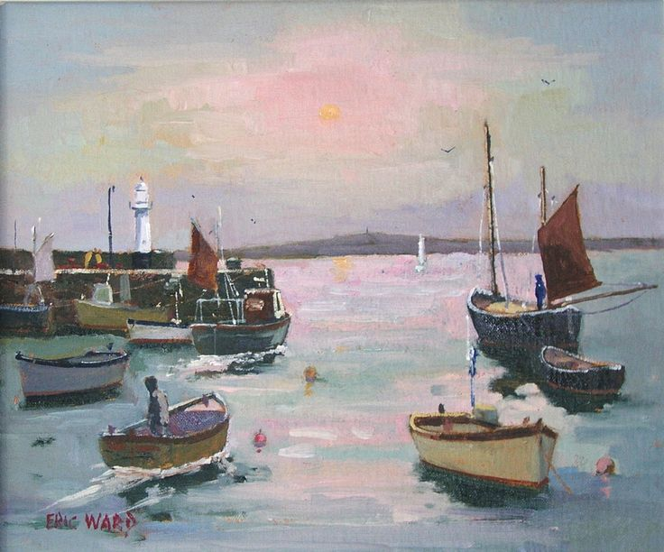 Eric Ward Original Painting ' Morning Sun at St Ives Harbour' £390 online at www.navigatorarts.co.uk promoting Cornish Contemporary Art.