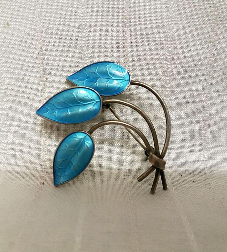 Vintage Ivar Holth Sterling Silver Enamel Leaf Brooch