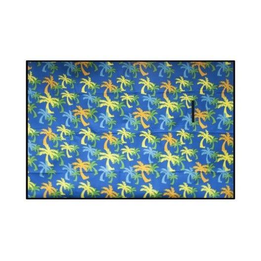 Pikniková deka modrej farby s motívom palmy