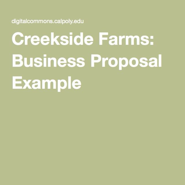 Creekside Farms: Business Proposal Example