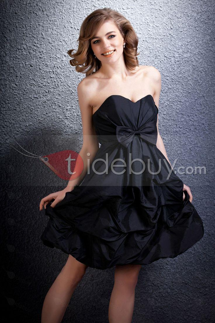 綺麗なラッフルちょう結びスイートハートネック膝下丈ブライズメードドレス