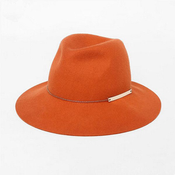 Orange felt fedora hats for women winter wool hats with chain ($60) ❤ liked on Polyvore featuring accessories, hats, felt hat, wool felt hat, felt fedora, woolen hat and orange fedora