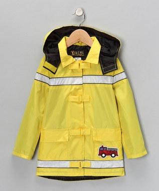 Gold Fire Truck Raincoat - Toddler & Boys