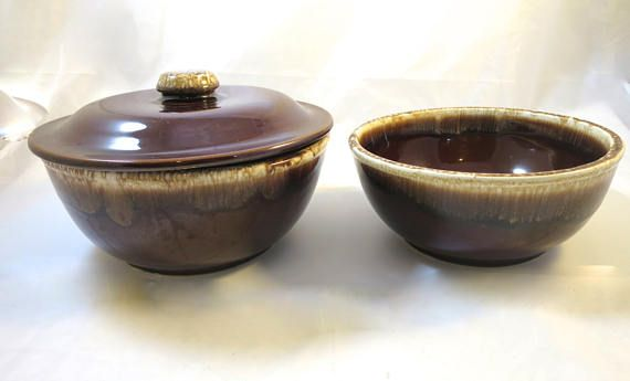 2 Brown Drip Bowls w/ 1 Lid Stackable Oven to Table Marked