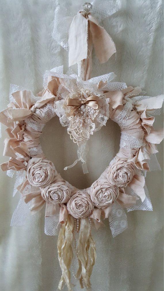 -Rag wreath , rattan heart , shabby chic , shabby chic home and living , shabby chic home decor , cream Rag wreath heart , gift for her