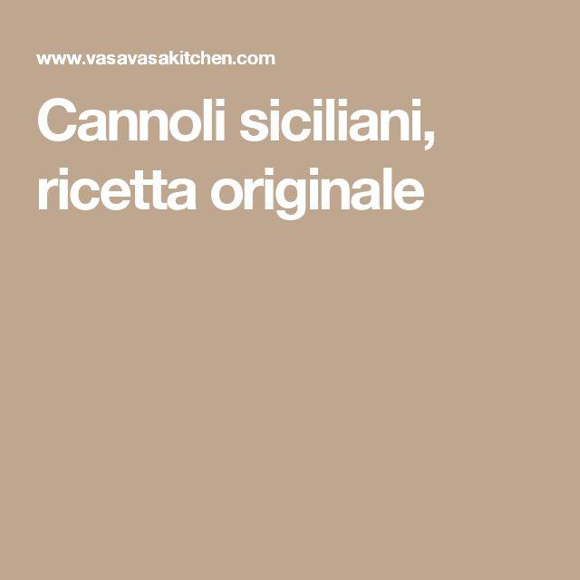 Cannoli siciliani, ricetta originale