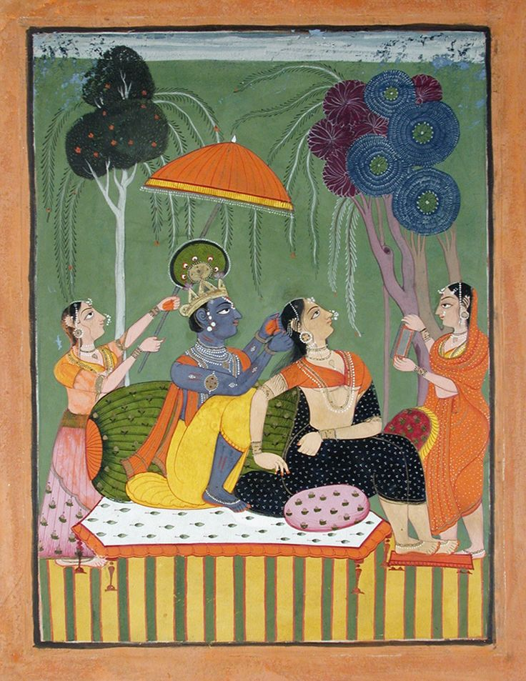 Krishna loosens Radha's hair. Opaque watercolor and gold on paper, Series: The Ancient Text of the Lord, Suite: Bhagavata Purana, India, ca. 1755