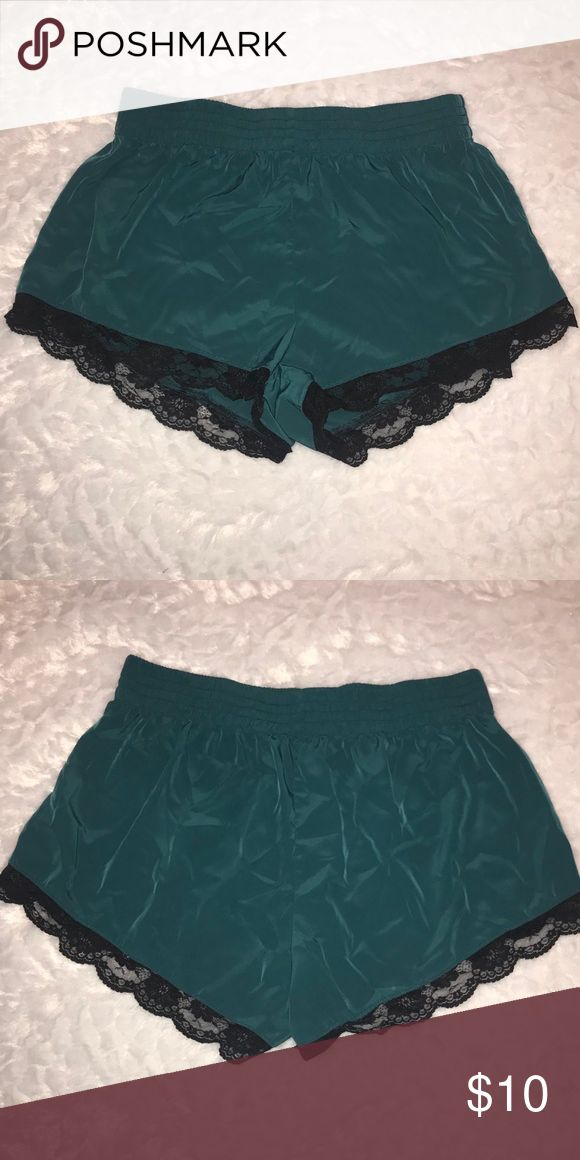 Forever 21 shorts 100% polyester  Size medium (fits like a small)  Cute and comfy teal shorts, sexy as pjs or you can even dress them up with a bodysuit and heels Forever 21 Shorts