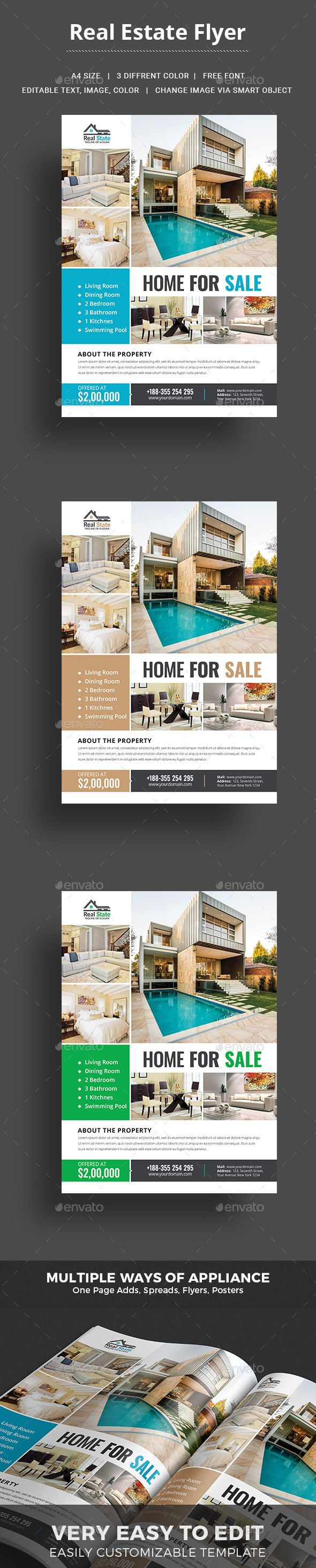 This #Real #Estate #Flyer #Template is a great tool for promoting your real estate business also useful for a realtor or a real estate agent. You can use it for real estate listings, advertising homes or property for sale,or houses for rent.