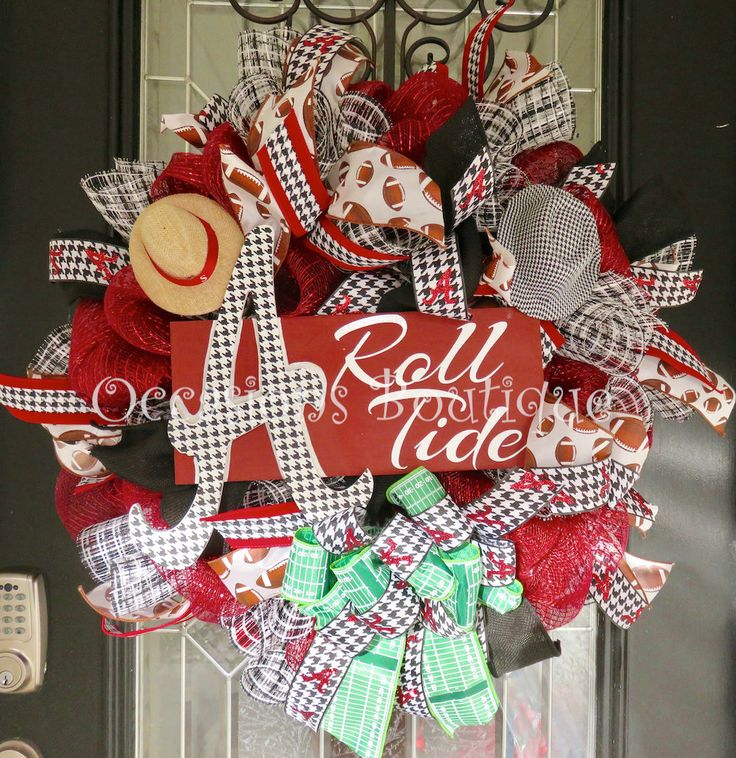 Alabama Football Wreath, Alabama Decoration, Alabama Door Hanger, Roll Tide, Fall Wreath, Deco Mesh Wreath, Made to Order by OccasionsBoutique on Etsy