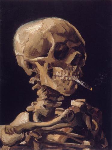 非常に熱いタバコが付いているスカル  【ゴッホ】 100%手描き油絵複製画 オーダーメード