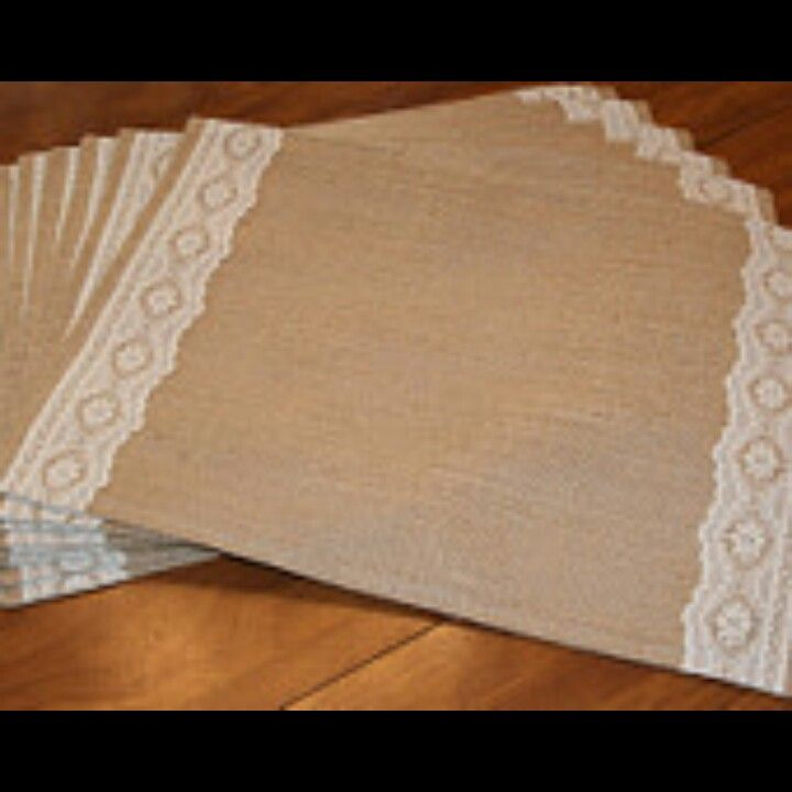 Instead of tableclothes. Burlap and lace placemats.