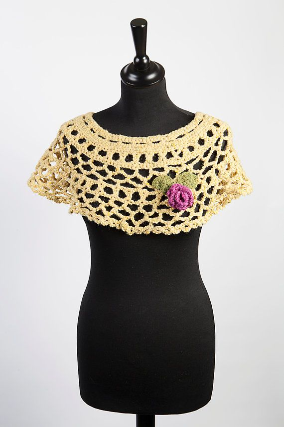Crochet Lace Caplet Handmade In Irish Donegal Yarn by TissaGibbons, €32.00