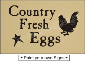 Primitive Stencil Country Fresh Eggs Rooster Family Kitchen Home Decor Signs