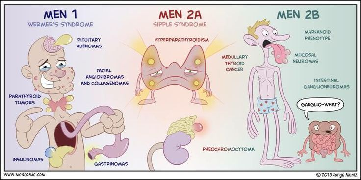 Multiple endocrine neoplasia::: MEN 1 = hyperparathyroidism + gastrinoma + pituitary tumor (prolactinoma)... if a patient presents with hypercalcemia and this is expected... the next step is to refer to surgery for a parathyroidectomy... also, you can't measure gastrin levels when a patient is hypercalemic, they have to be normocalcemic and off PPI's