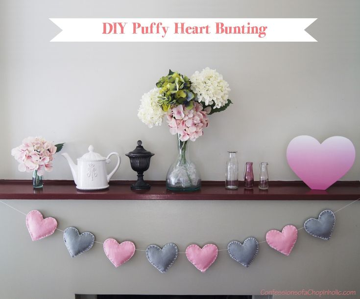 DIY Puffy Heart Bunting    You will need:     -A few pieces of felt in different colours    - Scissors     - Thick needles     - Wool or thick cotton    - Cushion stuffing   - Heart cut-out (download link in source url)