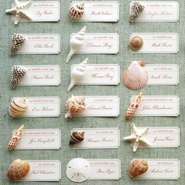 Cool idea: Placecard, Idea, Sea Shells, Escort Cards, Beaches Theme, Seashells, Places Cards, Seats Cards, Beaches Wedding