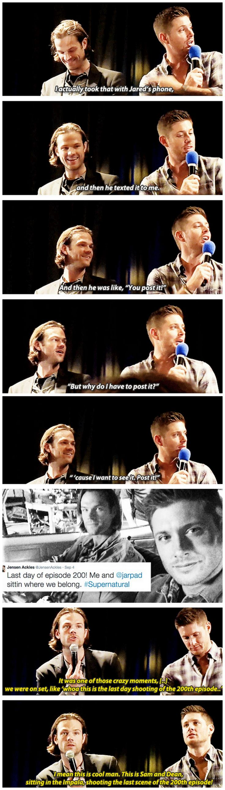 [gifset] Jensen and Jared on Jensen tweeting last day of the 200th episode. #NJCon14 #Jensen #Jared