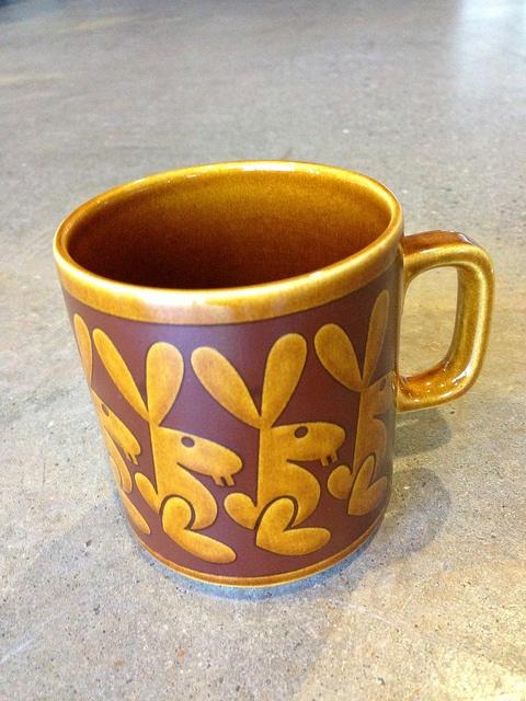 Hornsea Pottery mug - John Clappison Rabbits 1974