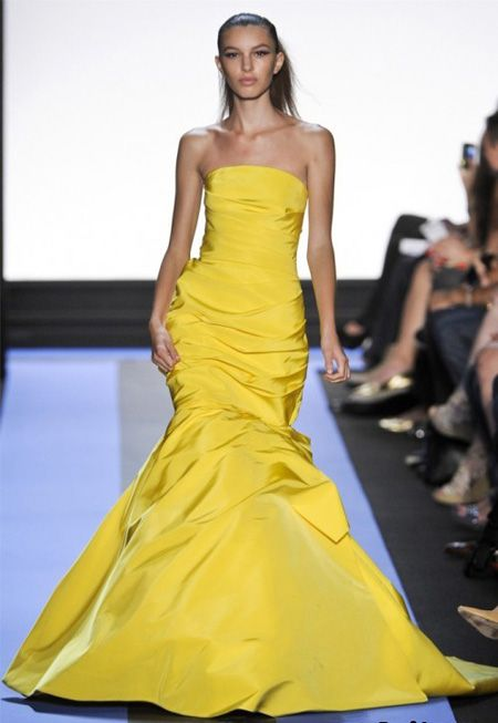 Lemon Ball Gown by Monique Lhuillier #Dress #Gown #Monique_LHuillier #Yellow
