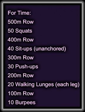 Not a bad Crossfit workout.  Could also have done with equal distance of paced running instead of rowing.