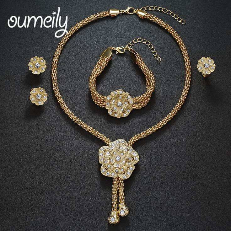 OUMEILY Partai Aksesoris Bunga Perhiasan Set Untuk Wanita Afrika Beads Imitasi Kristal Kalung Anting Gelang Cincin Halus