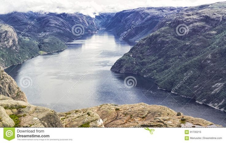 Landscape From The Tourist Route On Preikestolen - Download From Over 59 Million High Quality Stock Photos, Images, Vectors. Sign up for FREE today. Image: 91735215