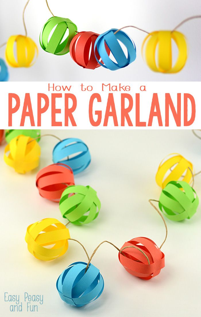 Paper Ball Garland. Love this colorful Christmas craft for kids!