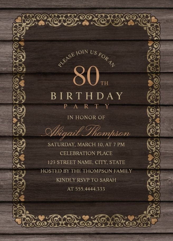 fancy wood 80th birthday invitations rustic country invitation