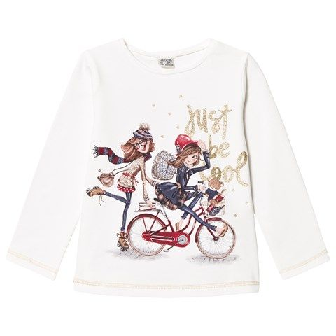 Mayoral White Bicycle Girls Glitter Tee