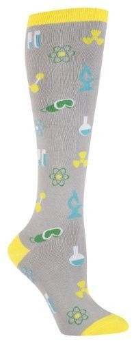 Science Knee Socks featuring images of goggles, beakers, microscopes, and more scientific paraphernalia!  (for teens and adults)