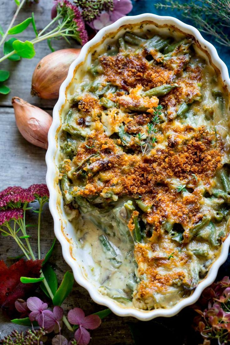 Healthy, easy, from-scratch Cheddar Green Bean Casserole. It's the perfect Thanksgiving make-ahead dish. | Healthy Seasonal Recipes | Katie Webster