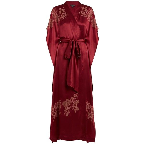 Carine Gilson Lace-appliqué silk-satin kimono ($2,136) ❤ liked on Polyvore featuring intimates, robes, burgundy, kimono robe, lace kimono, carine gilson kimono, carine gilson and silk satin robe