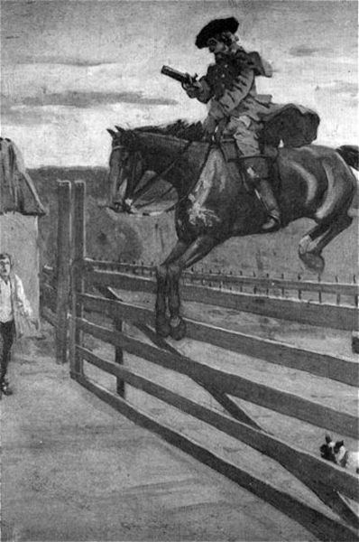 Dick Turpin, English highwayman, 1705-1739, jumping Hornsey tollgate. This was about 12 miles from Turpin's hideout in Epping.