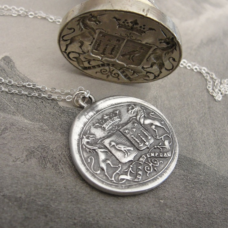 Wax seal necklace unicorn crest with birds and stars - Latin motto with promise of time. $115.00, via Etsy.